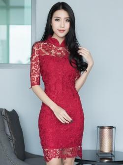 ชุดเดรสกี้เพ้าสีแดง ผ้าลูกไม้ สวยมากๆ ใส่ได้ทุกโอกาส