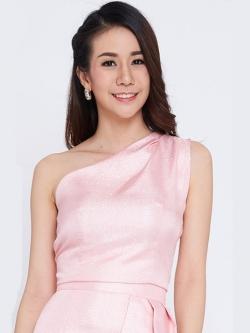 เสื้อออกงานสีชมพู ไหล่เฉียง เข้ารูป