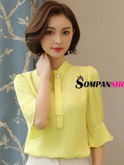 เสื้อชีฟองสีเหลือง แขนสี่ส่วน ลุคเรียบร้อย สวยๆ สไตล์สาวออฟฟิศ