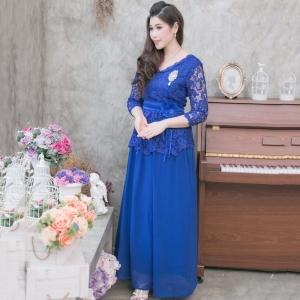 ชุดเดรสยาวออกงานสีน้ำเงิน ลุคเรียบหรู สวยสง่า ดูดีมากๆๆๆ เหมาะสำหรับใส่ออกงาน ไปงานแต่งงาน ชุดแม่เจ้าสาว ชุดถือขันหมาก