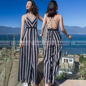 จั๊มสูทกางเกงขายาว ลายทางตรง สายเดี่ยวเปิดหลัง แฟชั่นชุดเที่ยวทะเล สุดเซ็กซี่ ( สินค้าพร้อมส่ง )