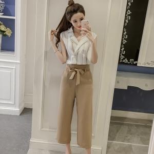 ชุดเซ็ทเสื้อ-กางเกงขายาวสีครีม สไตล์สวย เท่ ดูดี