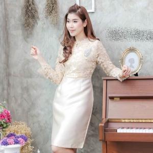 ชุดออกงาน ชุดไปงานแต่งงานสีทอง ผ้าลูกไม้ แขนยาว เข้ารูป สวยหรู ดูดี