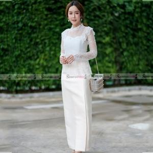 ชุดออกงานแบบไทยประยุกต์ เซ็ทเสื้อลูกไม้แขนยาวซีทรู + กระโปรงยาว : พร้อมส่ง XL ,2XL , 3XL