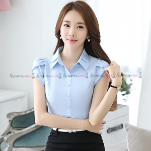 เสื้อเชิ้ตผู้หญิงสีฟ้า แขนสั้นจับจีบ กระดุมหน้า แมทซ์ได้ทั้งกระโปรง กางเกง : สินค้าพร้อมส่ง S-2XL