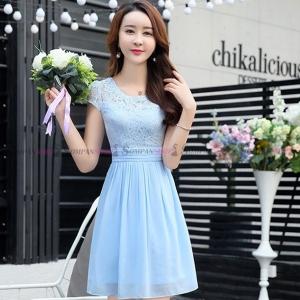 ชุดเดรสสั้นสีฟ้า ผ้าลูกไม้ แขนสั้น แนวเรียบร้อย สวยหวาน น่ารัก ใส่ทำงานได้ : พร้อมส่ง S-XL