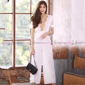 ชุดเดรสกางเกงขายาวสีขาว แต่งลูกไม้ กางเกงขาทรงกระบอก ทรงสวย : สินค้าพร้อมส่ง M L XL