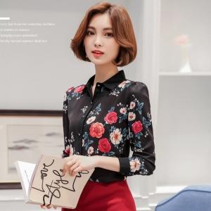 เสื้อทำงานสีดำ ลายดอกไม้ แขนยาว