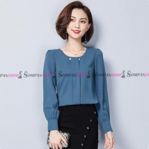 เสื้อเชิ้ตทำงานผู้หญิงสีฟ้า แขนยาว ทรงปล่อย ผ้าชีฟอง : พร้อมส่ง