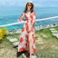 ชุดเดรสยาวเที่ยวทะเลสีส้มลายใบไม้ ผูกเอว แฟชั่นเที่ยวทะเลสวยๆสไตล์ฮาวาย