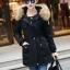 เสื้อกันหนาวผู้หญิงแฟชั่นเกาหลี สีดำ แจ็คเก็ตมีฮู้ด มีเฟอร์ขนสัตว์ ถอดได้ หนาวๆ เอาอยู่