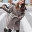 เสื้อโค้ทกันหนาวผู้หญิง สีเทา มีฮู้ด ติดเฟอร์ขนสัตว์ รับลมหนาว เที่ยวต่างประเทศ สวยๆ