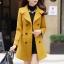 เสื้อโค้ทกันหนาวผู้หญิง สีเหลือง คอปก แต่งเว้าสวย ตัวยาวคลุมสะโพก