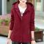 เสื้อกันหนาวผู้หญิงแฟชั่นเกาหลี สีแดง แจ็คเก็ตมีฮู้ด ลายจุด ใส่กันลมสวยๆ