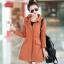 เสื้อกันหนาวผู้หญิงแฟชั่นเกาหลี สีส้ม แจ็คเก็ตกันลมมีฮู้ด ตัวยาวคลุมสะโพก