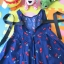 เสื้อเด็ก D5 (3-4 ขวบ) ชุดลายดอกไม้สีน้ำเงิน แขนกุด thumbnail 2