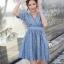 ชุดเดรสสั้นสีฟ้าใส่เที่ยวทะเลน่ารักๆ สไตล์สาวโบฮีเมียน