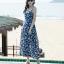 ชุดเดรสยาวเที่ยวทะเลสีน้ำเงิน พิมพ์ลายสวยๆ สายเดี่ยว ผูกหลัง