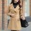 เสื้อโค้ทกันหนาวผู้หญิง สีกากี คอปก ตัวยาวคลุมสะโพก มีเข็มขัด