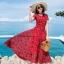 ชุดเดรสยาวสีแดงใส่เที่ยวทะเลพิมพ์ลายใบไม้สวยๆ สไตล์โบฮีเมียน แฟชั่นริมทะเล ร้อนนี้หนีไปทะเลกัน สวยใสรับซัมเมอร์ เก๋ๆ ( สินค้าพร้อมส่ง )