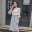 ชุดเซ็ท เสื้อ-กระโปรงสีเทา สวยหวาน น่ารักๆ สไตล์วินเทจ