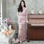 ชุดออกงานยาวสีชมพู คอวีผูกโบว์ ทรงเข้ารูปกระโปรงหางปลา ( สินค้าพร้อมส่ง : S M L XL )