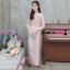 ชุดออกงานผู้ใหญ่สีชมพู เซ็ทเสื้อลูกไม้สวยหรู + กระโปรงยาวผ้าไหมอิตาลี