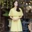 ชุดเดรสสั้นสีเหลือง แต่งระบาย กระโปรงทรงบาน แนวเรียบๆ สวยหวาน น่ารัก ใส่ทำงาน ใส่ออกงานได้ : สินค้าพร้อมส่ง