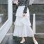 กระโปรงยาวสีขาว สามชั้น สวยพริ้ว แฟชั่นชิคๆ สไตล์เกาหลี