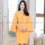 ชุดเดรสสั้นสีเหลือง เข้ารูป แขนยาวระบาย แนวเรียบๆ สวยดูดี ใส่ทำงานได้ ( สินค้าพร้อมส่ง : XL)