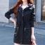 เสื้อกันหนาวผู้หญิงแฟชั่นเกาหลี สีดำ แจ็คเก็ตกันลมมีฮู้ด ตัวยาวคลุมสะโพก แต่งลายสก็อต