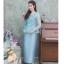 ชุดเดรสออกงานยาวสีฟ้า สไตล์ผู้ใหญ่ Set เสื้อลูกไม้คอวี เอวระบาย + กระโปรงผ้าไหมอย่างดีสีพื้นทรงสอบ