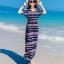 ชุดเดรสยาวเที่ยวทะเลสีน้ำเงิน พิมพ์ลายสวยๆ สวยเก๋ สไตล์โบฮีเมียน