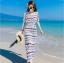 ชุดเดรสยาวเที่ยวทะเลสีขาว พิมพ์ลายสวยๆ สวยเก๋ สไตล์โบฮีเมียน