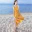 ชุดเดรสยาวเที่ยวทะเลสีเหลือง สายเดี่ยว ผูกโบว์ แฟชั่นเที่ยวทะเลสวยๆสไตล์ฮาวาย