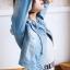 เสื้อยีนส์ผู้หญิง แจ็คเก็ตยีนส์ เสื้อคลุมยีนส์ สีฟ้า แขนยาว คอกลม แฟชั่นสไตล์เกาหลี