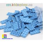 BRF004CY ตัวต่ออิสระแผ่นบางสีฟ้า ขนาด 2x4 ปุ่ม น้ำหนัก 100 กรัมในถุงพลาสติกใส