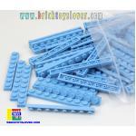 BRI004CY ตัวต่ออิสระแผ่นบางสีฟ้า ขนาด 1x8 ปุ่ม น้ำหนัก 100 กรัมในถุงพลาสติกใส