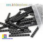 BRI004BK ตัวต่ออิสระแผ่นบางสีดำ ขนาด 1x8 ปุ่ม น้ำหนัก 100 กรัมในถุงพลาสติกใส