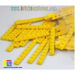 BRI004Y ตัวต่ออิสระแผ่นบางสีเหลืองน ขนาด 1x8 ปุ่ม น้ำหนัก 100 กรัมในถุงพลาสติกใส