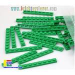 BRI004GN ตัวต่ออิสระแผ่นบางสีเขียว ขนาด 1x8 ปุ่ม น้ำหนัก 100 กรัมในถุงพลาสติกใส