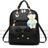 กระเป๋าเป้พวงกุญแจหมี หนัง PU ปรับสายให้สะพายไหล่ สะพายข้างได้ สีดำหน้าโบว์ /พร้อมส่ง