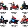 7008-13 Super Hero มินิฟิกเกอร์ MARVEL และ DC Comics พร้อมมอเตอร์ไซค์ Side Car