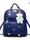กระเป๋าเป้ พวงกุญแจหมี หนัง PU ปรับสายให้สามารถสะพายไหล่ สะพายข้างได้ สีน้ำเงิน / พร้อมส่ง