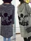 เสื้อคลุมไหมพรมกันหนาวลายการ์ตูนที่กระเป๋าหน้าและด้านหลัง ตัวใหญ่ชัดสวยเวอร์ -- พร้อมส่ง