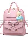 กระเป๋าเป้พวงกุญแจหมี หนัง PU ปรับสายให้สะพายไหล่ สะพายข้างได้ สีชมพูหน้าโบว์ / พร้อมส่ง