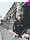 (ภาพจริง) เสื้อแฟชั่น มีฮูด แขนยาว บุกันหนาว ลาย SK สีดำ / พร้อมส่ง