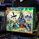 822 ของเล่นตัวต่อ MineWorld ถ้ำฐานที่มั่นและมังกรบิน Ender Dragon