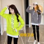 เสื้อแขนยาวมีหมวกฮู๊ด สไตล์เกาหลีสายคล้องคอเล่นลาย มี 2 สีให้เลือก