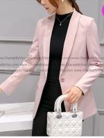 เสื้อสูทมาใหม่ตัวยาวมีซับใน กระเป๋าจริง สีชมพูนวล / พร้อมส่ง